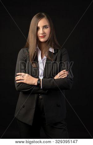 Young Beautiful Brunette Girl Black Background, Portrait, Straight Long Dark Hair, Black Jacket, Whi