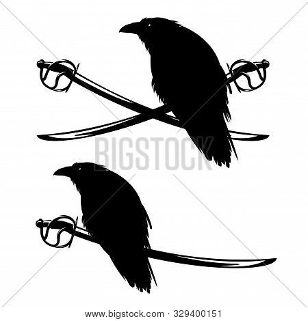 crossed pirate saber swords and sitting raven bird - filibuster black nad white vector emblem design poster