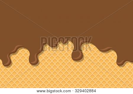 Wafer And Flowing Chocolate. Ice Cream And Wafer. Delicious Food Concept. Vector Stock.