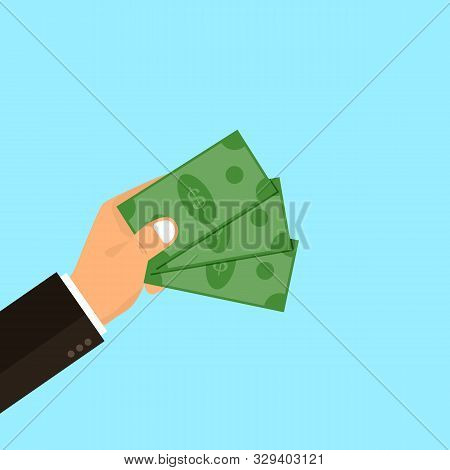 Hand Holds Money. Investing In Innovation, Modern Technology Business Concept. Flat Design Graphics