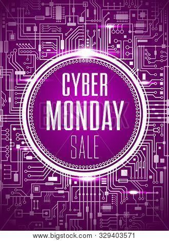 Cyber Monday Sale Design Template. Futuristic Chipset Technology Background. Purple Cybermonday Bann