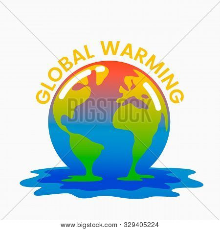 Planet Earth Is Melting And Dying Of Global Warming. Earth Turns Into A Puddle.