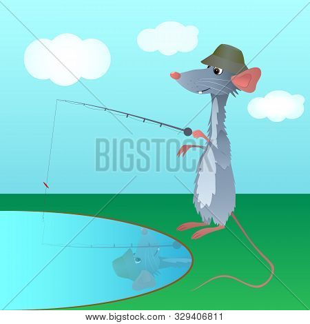 Funny Rat With A Long Pink Tail, Dressed As A Fisherman, Holding A Rod And Trying To Catch Fish At R