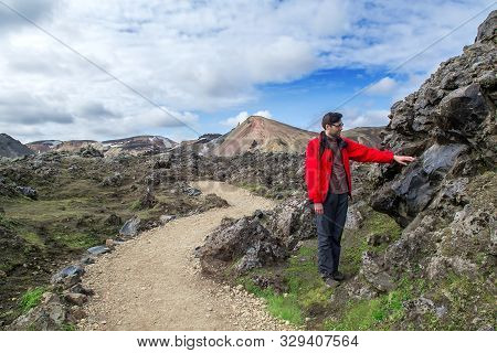 Halt Of Tourist While Traveling On Mountains Of Iceland. Selective Focus