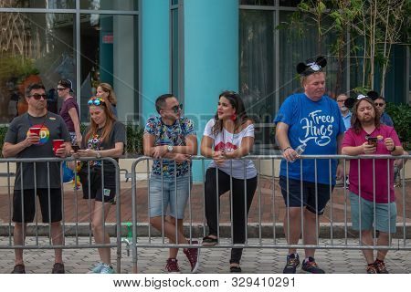 Orlando, Florida. October 12, 2019. Nice People Waiting For The Beginning Of The Parade In Come Out