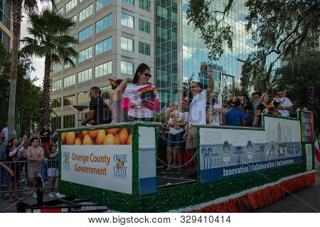 Orlando, Florida. October 12, 2019. Orange County Government Chariot At Come Out With Pride Orlando
