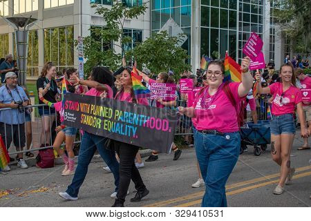 Orlando, Florida. October 12, 2019. Parenthood For Equality Sign  In Come Out With Pride Orlando Par