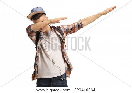 Young guy gesturing a dub move isolated on white background