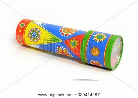 An Isolated Shot Of A Kids Kaleidoscope Toy Used For Making Abstract Views When Looking In The Viewf