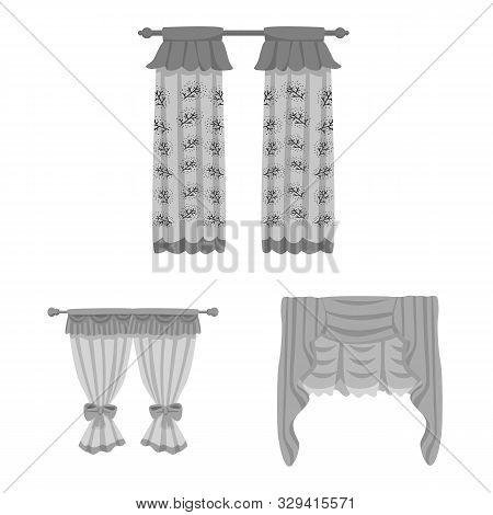 Vector Design Of Interior And Cornice Icon. Set Of Interior And Drapes Vector Icon For Stock.