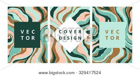 Fashion Set Of Abstract Banner With Malachite Texture. Modern Design Template With Freehand Striped