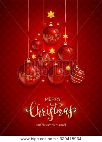 Christmas Balls And Shiny Stars On Red Background. Illustration With Golden Lettering Merry Christma