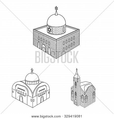 Vector Design Of Architecture And Building Sign. Set Of Architecture And Clergy Stock Vector Illustr