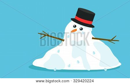Cuite Sad Melting Snowman With Hat And Tears In Flat Cartoon Style, Isolated On Blue Background. Vec