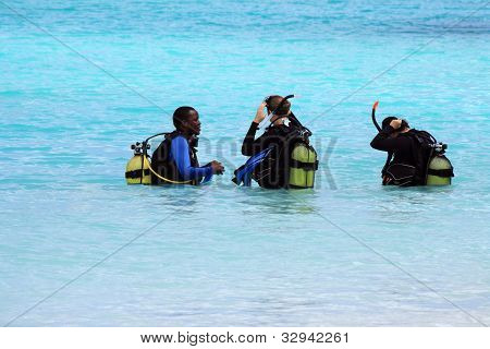 Divers During Training