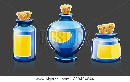 Cartoon Bottles With Natural Organic Cosmetic Aroma Liquids, Perfume And Beauty Balsam With Labels C