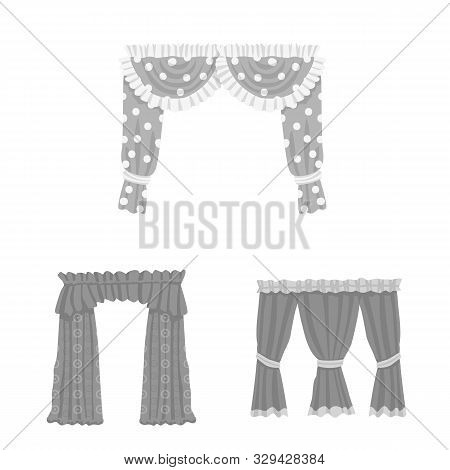 Isolated Object Of Interior And Cornice Sign. Set Of Interior And Drapes Vector Icon For Stock.