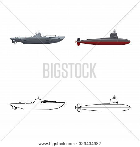 Isolated Object Of War And Ship Sign. Collection Of War And Fleet Stock Symbol For Web.