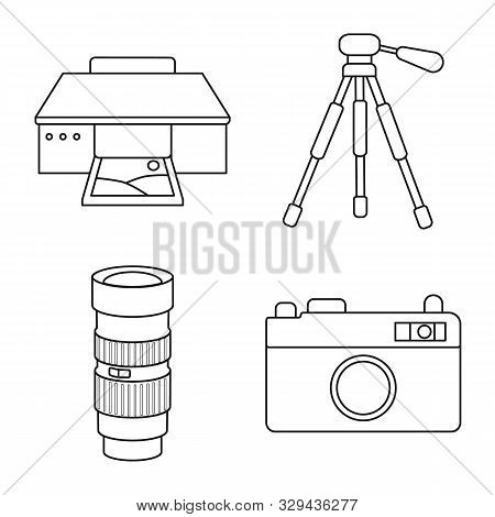 Vector Design Of Photography And Equipment Symbol. Set Of Photography And Accessories Vector Icon Fo