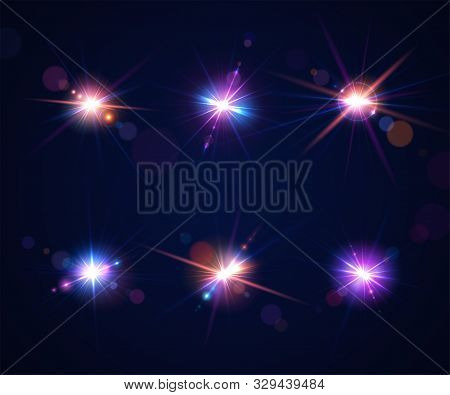 Sparkling Light Effects Of Flash. Glowing Lens Flares And Colorful Twinkle. Set Of Beautiful Glare E