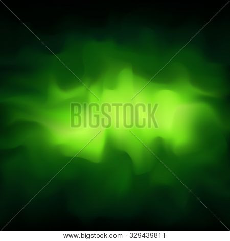 Poisonous Green Smoky Vector Abstract Background, Fog. Glowing Cloud Of Smoke On A Dark Green Backgr