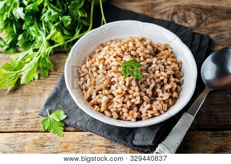 Barley Porridge Decorated With Parsley Leaves With Dried Barley