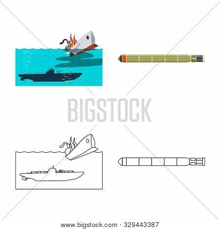 Vector Design Of War And Ship Icon. Set Of War And Fleet Stock Vector Illustration.
