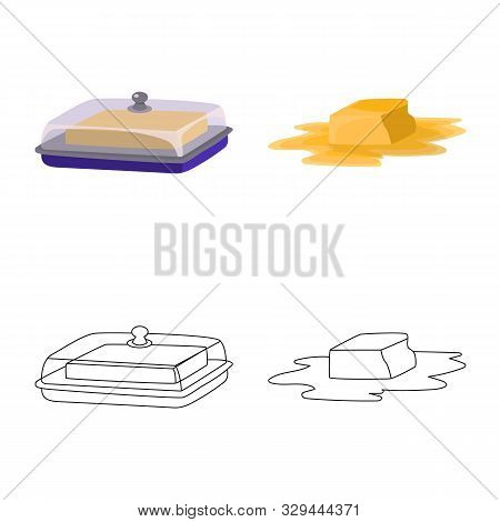 Vector Illustration Of Creamy And Product Logo. Set Of Creamy And Farm Stock Vector Illustration.