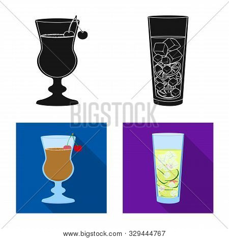 Vector Design Of Liquor And Restaurant Logo. Collection Of Liquor And Ingredient Stock Vector Illust