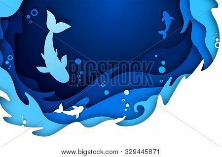 Paper Art Craft Of Underwater Seascape: Undersea World And Ocean Wildlife: Reef, Water Waves And Fis