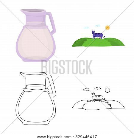 Isolated Object Of Creamy And Product Sign. Collection Of Creamy And Farm Stock Symbol For Web.