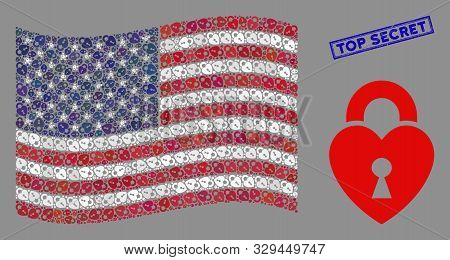 Heart Lock Icons Are Arranged Into American Flag Abstraction With Blue Rectangle Rubber Stamp Waterm