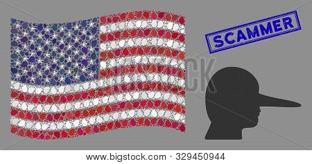 Lier Pictograms Are Arranged Into United States Flag Collage With Blue Rectangle Distressed Stamp Wa