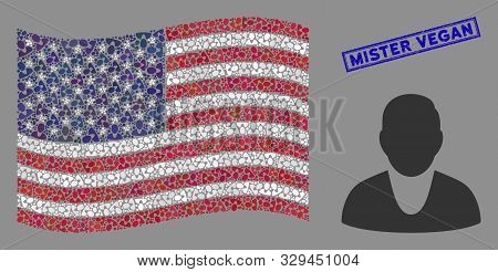 Client Icons Are Arranged Into American Flag Collage With Blue Rectangle Rubber Stamp Watermark Of M
