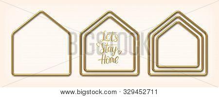 Set Of Golden Frames In Shape Of Houses