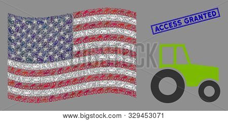 Wheeled Tractor Pictograms Are Combined Into American Flag Mosaic With Blue Rectangle Corroded Stamp
