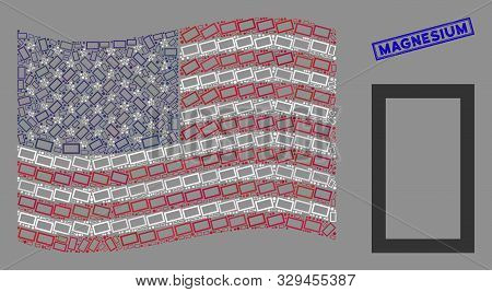 Contour Rectangle Icons Are Organized Into American Flag Stylization With Blue Rectangle Grunge Stam