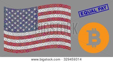 Bitcoin Coin Items Are Organized Into American Flag Abstraction With Blue Rectangle Corroded Stamp S