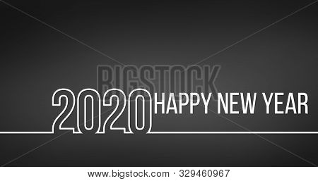 New Year 2020 Line Design Line Style For New Year Card, Calendar Style For New Year Card, Calendar.