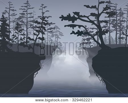 The River Between Two High Montainous Banks. Frontal View. Vector Silhouette Illustration.