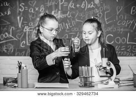 Science concept. Private school. Gymnasium students with in depth study of natural sciences. Knowledge crossroads molecular biology and chemistry. School project investigation. School experiment poster