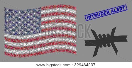 Barbed Wire Symbols Are Arranged Into American Flag Mosaic With Blue Rectangle Grunge Stamp Seal Of