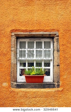 Old tiny windows in 6th century cottages, Culross, Fife, Scotlan