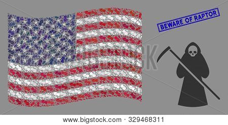 Death Scytheman Items Are Combined Into United States Flag Stylization With Blue Rectangle Distresse
