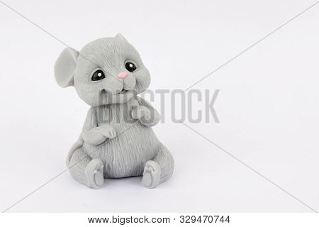 Mouse Sitting On A White Background. Handmade Soap.