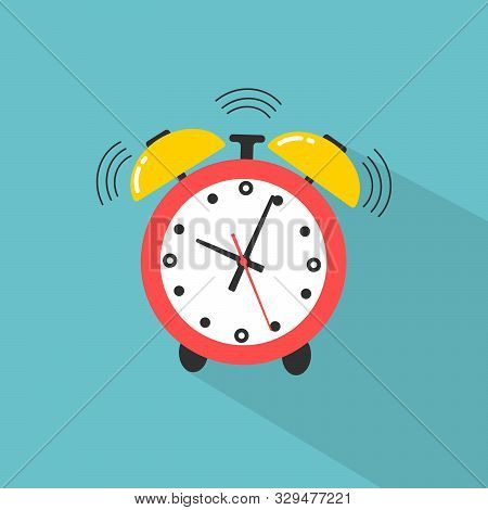 Ringing Alarm Clock. Alarm Clock Icon. Flat Design Style. Simple Icon Modern Flat Icon In Stylish Co