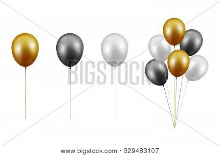 Vector Realistic Glossy Metallic Gold, Black, White Balloon Set Closeup Isolated On White Background