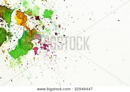 Abstract Water-color Hand Painting On White Paper Background