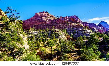 The Colorful Peaks Of The Sandstone Mountains And Mesas Along The Zion-mt.carmel Highway On The East