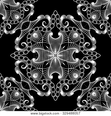 Intricate Black And White Lines Seamless Pattern. Ornamental Abstract Lines, Chains And Shapes Backg